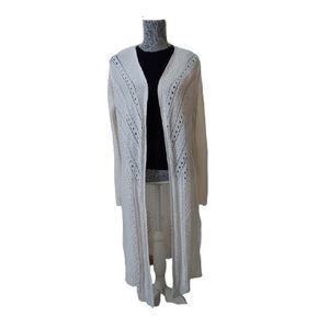 It's Our Time white crochet duster cardigan
